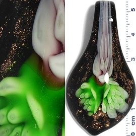 Glass Pendant Flower Spoon Black Gold Green Lavender PD942