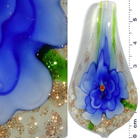 Glass Pendant Flower Spoon Gold White Blue PD957