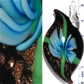 Glass Pendant Flower Oval Point Black Gold Turquoise PD966