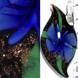 Glass Pendant Flower Oval Point Black Gold Blue PD970