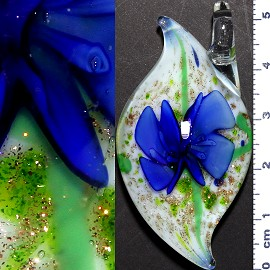 Glass Pendant Flower Oval Point Gold White Blue PD975