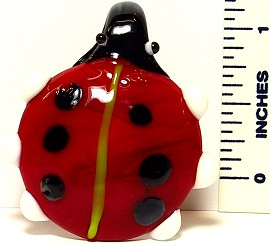 Glass Pendant Ladybug Red Black Dots PDL301