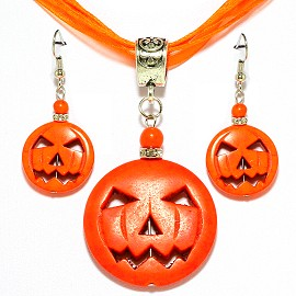 Pumpkin Head Earring Pendant Necklace Set Orange PDT108