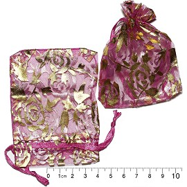 "100pcs 3.5x2.75"" Inches See Through Pouch Magenta Gold PH13"
