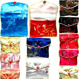 "3x3"" 12pcs Mix colors Soft Jewelry Asian Pouch w/Zipper PH24"