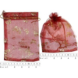 "100pcs 6.75x5"" Inches See Through Pouch Dark Red Gold PH43"