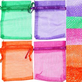 "12pc 3.5x2.75"" Inch See-Through Jewelry Pouch Mix PH54"