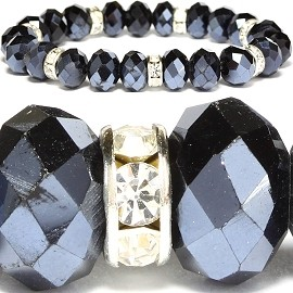 10mm Crystal Bracelet Rhinestone Stretch Obsidian SBR1006