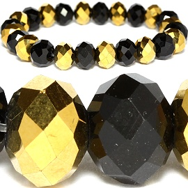 10mm Crystal Bracelet Stretch Solid Gold Black SBR1049