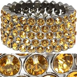 Wide Rhinestone Stretch Bracelet Gold SBR1091