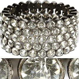 Rhinestone Stretch Bracelet Wide Clear Silver SBR1166