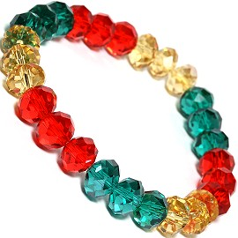 10mm Crystal Bracelet Stretch Green Red Gold SBR1176