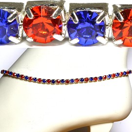 "10"" Stretch Rhinestone Bracelet Or Anklet Orange Blue SBR1187"