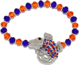 Crystal Rhinestone Stretch Gator Bracelet Orange Blue SBR1270
