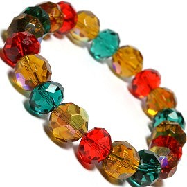 1pc Stretch 12mm Crystal Beads Bracelet Christmas Colors SBR204