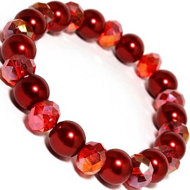 Stretch Bracelet Crystal Smooth Bead Red AB SBR222