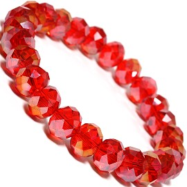 "1pc Stretch 10x8mm Oval Crystal Bead 7"" Bracelet Red AB"