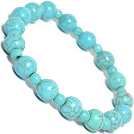 Stretch Bracelet Earth Stone Beads Round Turquoise SBR236