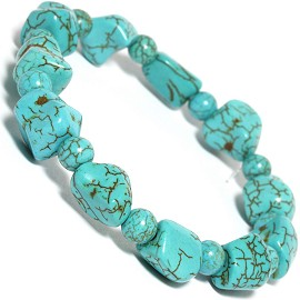 Stretch Bracelet Earth Stone Beads Rocky Turquoise SBR241