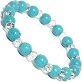 Stretch Bracelet Earth Stone Beads Crystal Turquoise Clea SBR244