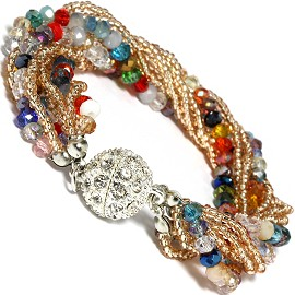 Bracelet Crystal Seed Beads Multi Color Gold SBR246