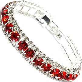 "7"" All Rhinestone Bracelet White Silver Tone Red SBR253"