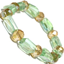 Stretch Bracelet Long Oval Crystal Bead Light Green Gold SBR270