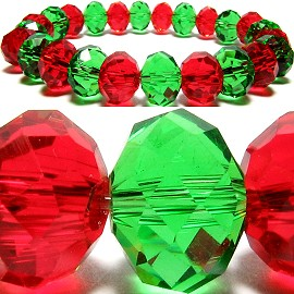 10mm Crystal Bracelet Stretch Green Red SBR278