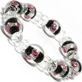 "7"" Stretch Bracelet Glass Rose Crystal Bead Clear Black SBR300"