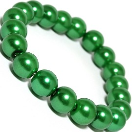 Stretch Bracelet Smooth Bead Green SBR301