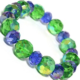 Stretch Bracelet Crystal Circle Oval Cut Green AB Blue SBR307