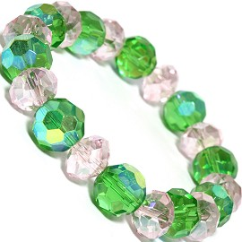 Stretch Bracelet Crystal Circle Oval Cut Green AB Pink SBR313