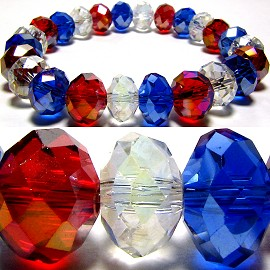 10mm Crystal Bracelet Stretch Red Blue Clear SBR314