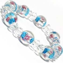 "7"" Stretch Bracelet Glass Rose Crystal Bead Clear Turquoi SBR321"