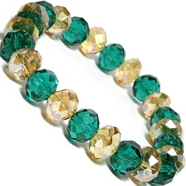"Stretch Bracelet 6.5"" Long Oval 10mm Crystal Gold Green SBR334"