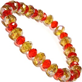 "Stretch Bracelet 6.5"" Long 8mm, 6mm Oval Crystal Gold Red SBR338"