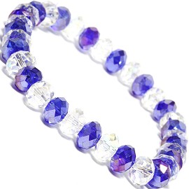 "Stretch Bracelet 6.5"" Long 8mm Oval Crystal Clear AB Blue SBR344"