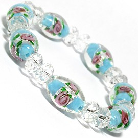 "7"" Stretch Bracelet Glass Rose Crystal Bead Oval Clear BT SBR349"