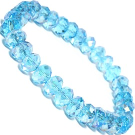 "Stretch Bracelet 6.5"" Oval 8x6mm Crystal Turquoise SBR353"