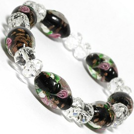 10mm Wide Stretch Crystal Bracelet Pink SBR356