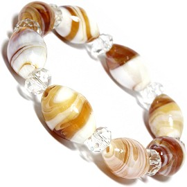 "7"" Glass Crystal Oval Bead Stretch Bracelet White Tan C SBR360"