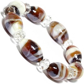 "7"" Glass Crystal Oval Bead Stretch Bracelet White Brown SBR361"