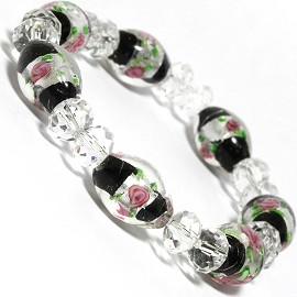 "7"" Stretch Bracelet Glass Rose Crystal Bead Oval Cl Black SBR379"