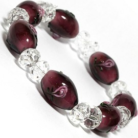 "Stretch Bracelet 6.5"" Oval 8x6mm Crystal Clear White SBR380"