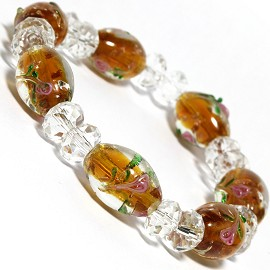"7"" Stretch Bracelet Glass Rose Crystal Bead Oval DkYellow SBR384"