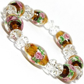 "7"" Stretch Bracelet Glass Rose Crystal Bead Oval DkYellow SBR385"