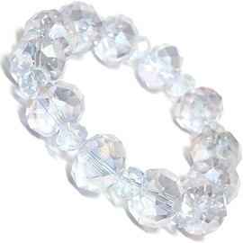 Stretch Bracelet Beads Crystal Oval Light Purple AB Clear SBR394