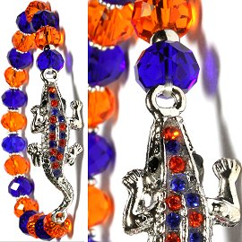 Crystal Rhinestone Stretch Gator Bracelet Orange Blue SBR400