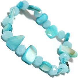 "Stretch Bracelet 6"" Crystal Rectangle Stone Lt Turquoise SBR402"
