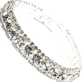 "Rhinestone Bracelet Wide 7.25"" Long, 11mm, Silver Tone SBR411"